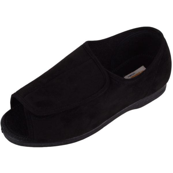 Open Toe EEE Wide Fitting Slipper - Black