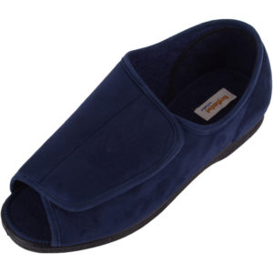 Open Toe EEE Wide Fitting Slipper - Navy