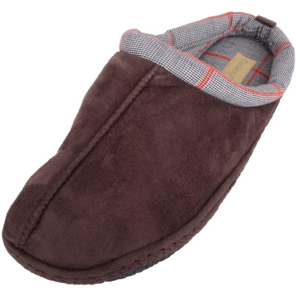 Slip On Tartan Checked Mule Slippers - Brown