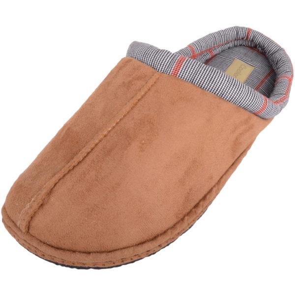 Slip On Tartan Checked Mule Slippers - Tan