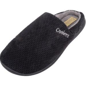 Slip On Micro Suede Mule Slippers - Black