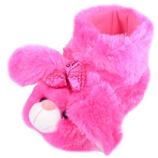 Faux Fur Pink Rabbit Bootie Slippers