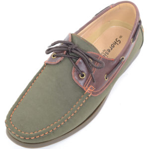 Smart Lace Up Boat / Deck Shoes - Green