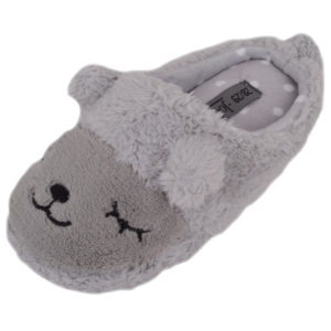 Faux Fur Animal Design Slippers - Grey