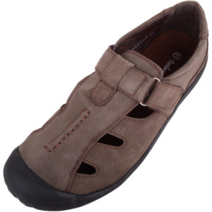 Leather Shoes with Ripper Fastening - Brown