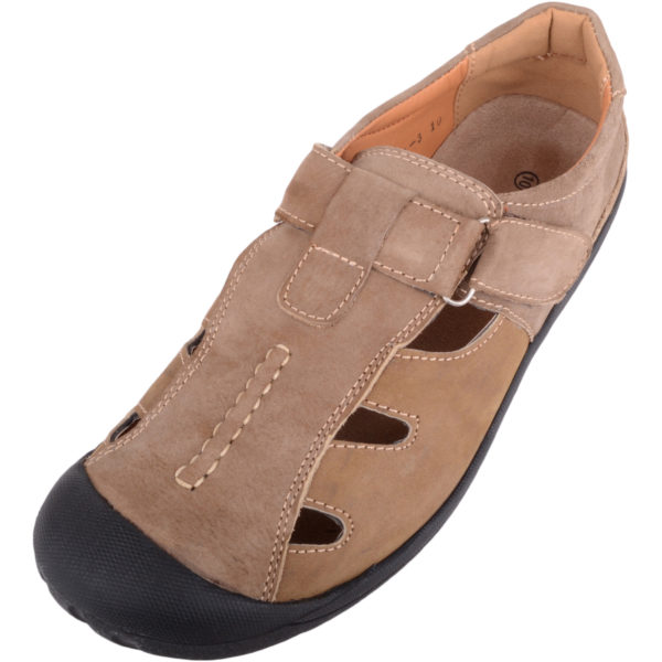 Leather Shoes with Ripper Fastening - Tan