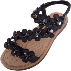 Holiday / Summer Sandals Diamante Floral Design - Black