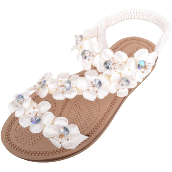 Holiday / Summer Sandals Diamante Floral Design - White