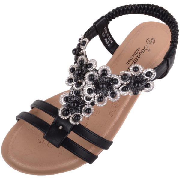 Wedge Sandals / Shoes with Floral Design - Black