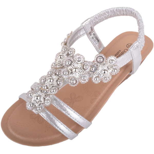 Wedge Sandals / Shoes with Floral Design - Silver