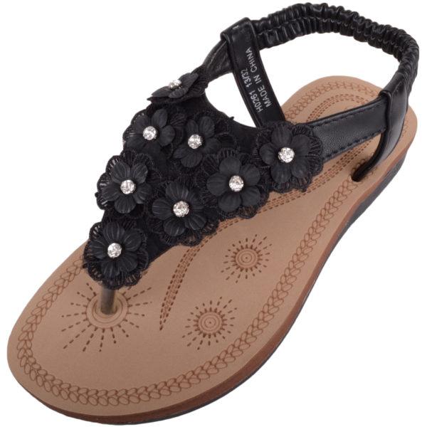 Slip On Flip Flop / Sandals with Floral Design - Black