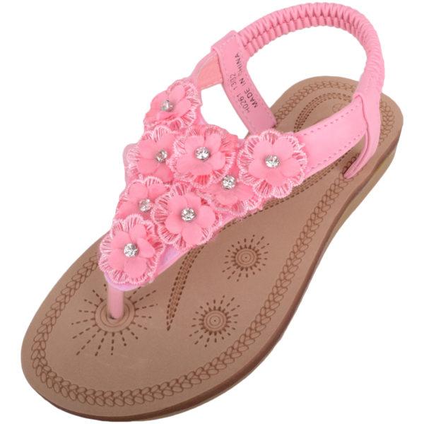 Slip On Flip Flop / Sandals with Floral Design - Pink