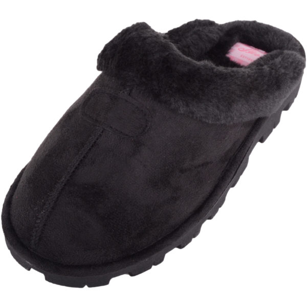 Thick Faux Fur Mule Slippers - Black