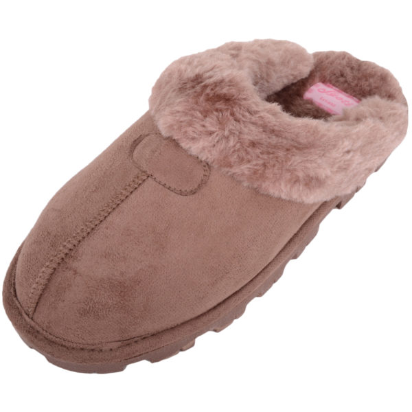 Thick Faux Fur Mule Slippers - Brown