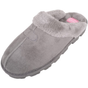Thick Faux Fur Mule Slippers - Grey