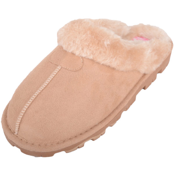 Thick Faux Fur Mule Slippers - Sand