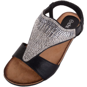 Diamante Style Summer / Holiday Slip On Sandals - Black