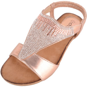 Diamante Style Summer / Holiday Slip On Sandals - Rose Gold