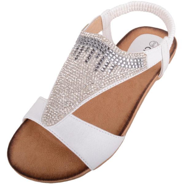 Diamante Style Summer / Holiday Slip On Sandals - White