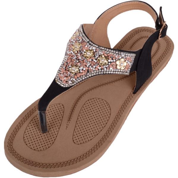 Diamante Pattern Flip Flop Sandals - Black