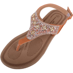 Diamante Pattern Flip Flop Sandals - Tan