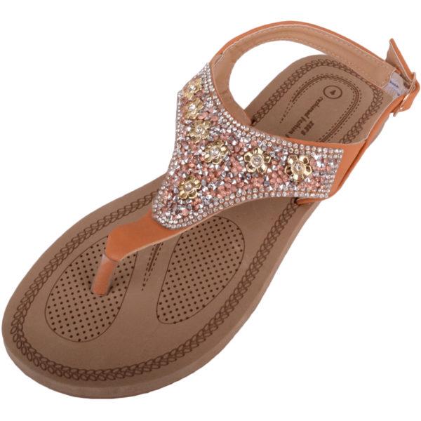Diamante Pattern Flip Flop Sandals - Tan