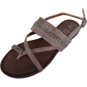 Diamante Strappy Sandals with Toe Posts - Grey