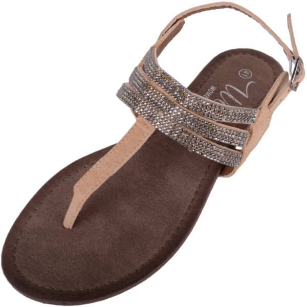 Strappy Flip Flops with Toe Posts - Beige