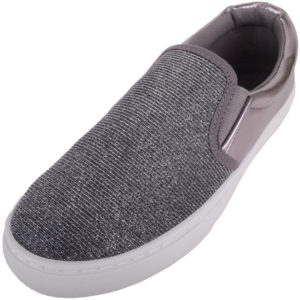 Slip On Glitter Skater Pumps / Plimsolls - Pewter