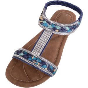 Sandals with Plaited / Diamante Design - Navy