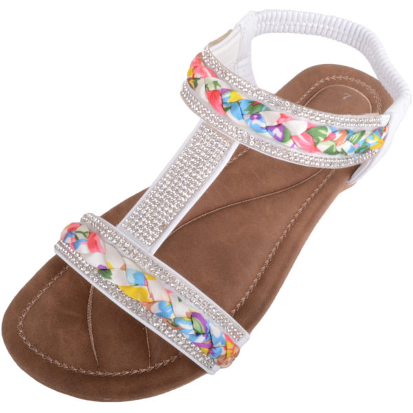 Sandals with Plaited / Diamante Design - White