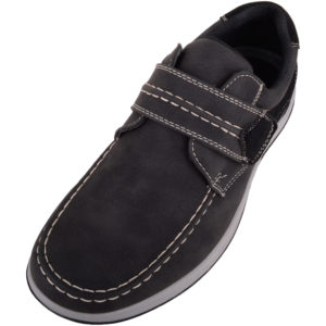 Casual Faux Leather Boat Shoes - Black