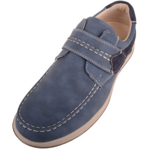 Casual Faux Leather Boat Shoes - Blue
