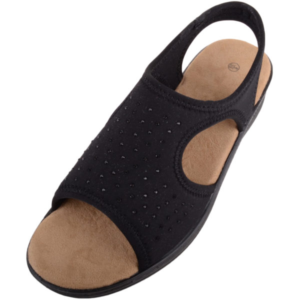 Lycra Wide Fitting Stretchy Sandals / Shoes - Black