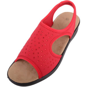 Lycra Wide Fitting Stretchy Sandals / Shoes - Red