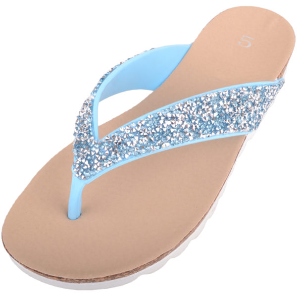 Women's Slip On Jewel Encrusted Flip Flops / Sandals