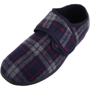 Men's EE Wide Fitting Tartan Slippers with Ripper Fastening
