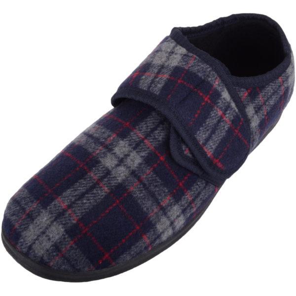 Men's EE Wide Fitting Tartan Slippers with Ripper Fastening