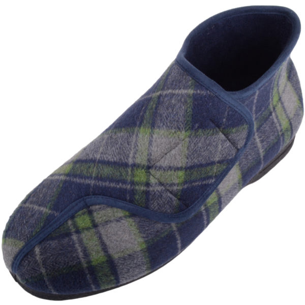 Men's Tartan EEE Wide Fitting Slippers