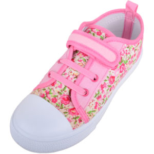 Children's Floral Canvas Shoes with Ripper Fastening