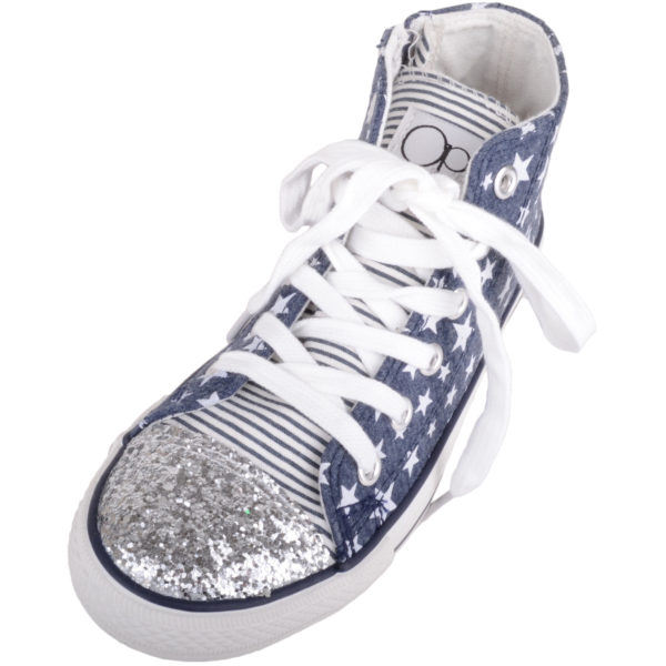 Girl's Canvas High Top Trainers with Star Design