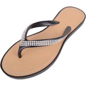 Ladies Slip On Style Diamante Flip Flops / Sandals