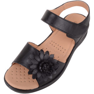Ladies Wide Fitting Summer Sandals / Shoes with Flower Design