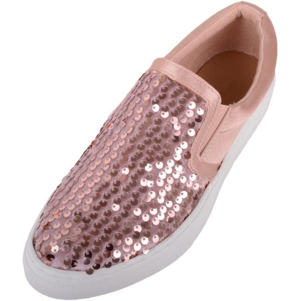 Ladies Slip On Glitter Sequin Shoes / Plimsolls