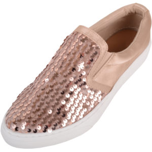 Ladies Slip On Glitter Sequin Shoes / Plimsolls