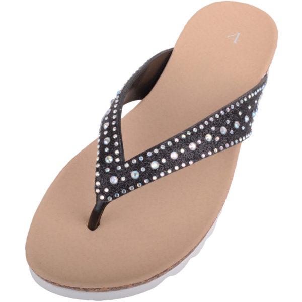 Ladies Slip On Summer Flip Flops / Sandals with Diamante