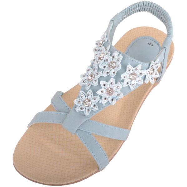 Ladies Floral Diamante Summer Sandals / Shoes