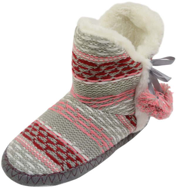 Women's Knitted Style Boots Slippers with Pom Pom Feature