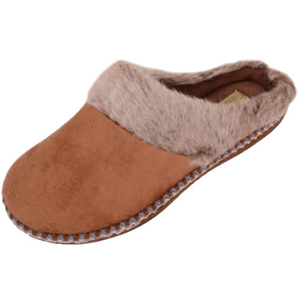 Women's Slip On Microsuede Mules / Slippers with Faux Fur Trim