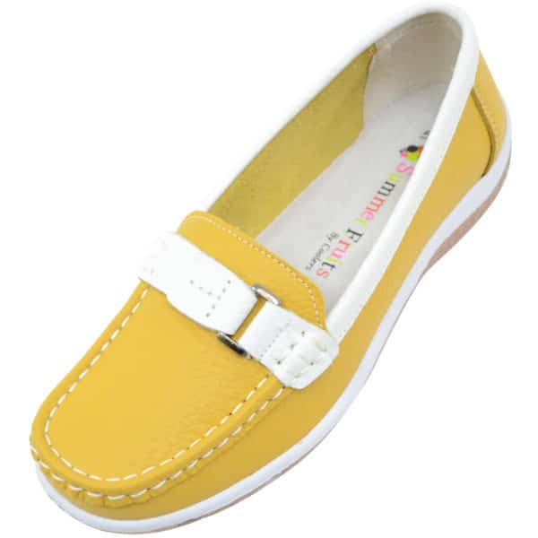Women's 100% Real Leather Slip On Summer Casual / Boat Shoes